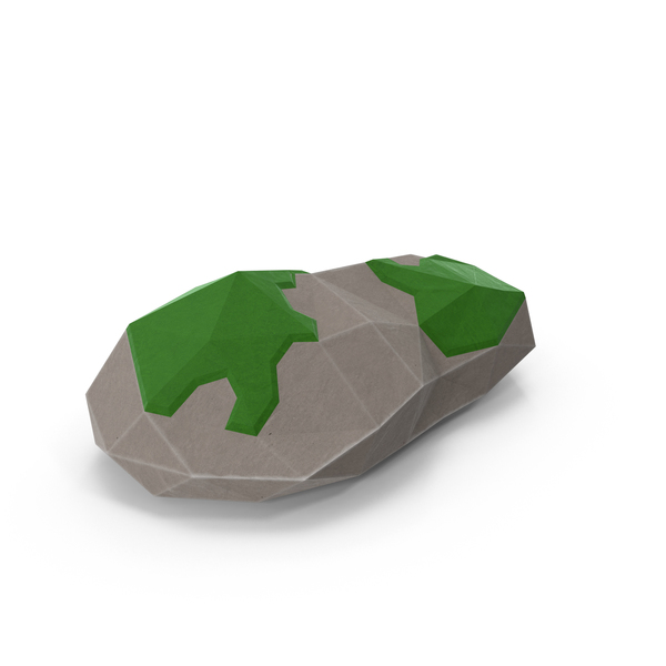Low Poly Mossy Rock PNG & PSD Images