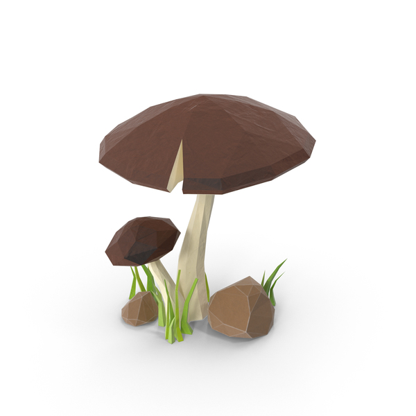 Low Poly Mushroom with Grass PNG & PSD Images