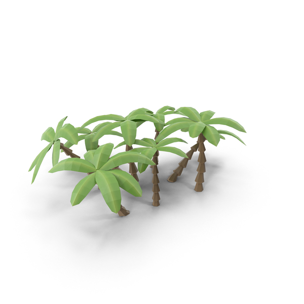 Cartoon Tree: Low Poly Palm Trees PNG & PSD Images
