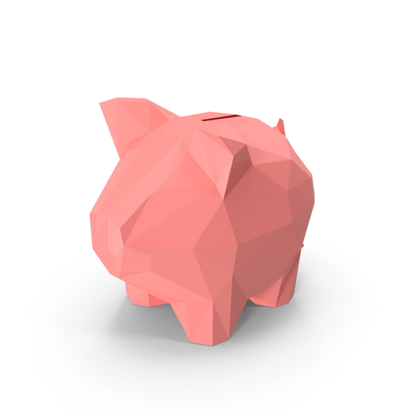 Low Poly Piggy Bank Object