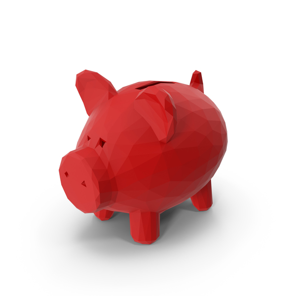 Low Poly Piggy Bank PNG & PSD Images