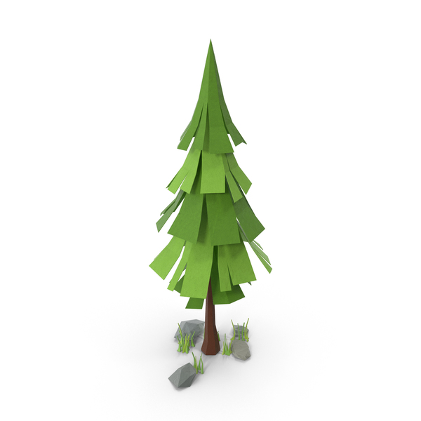 Low Poly Pine Tree with Rocks PNG & PSD Images