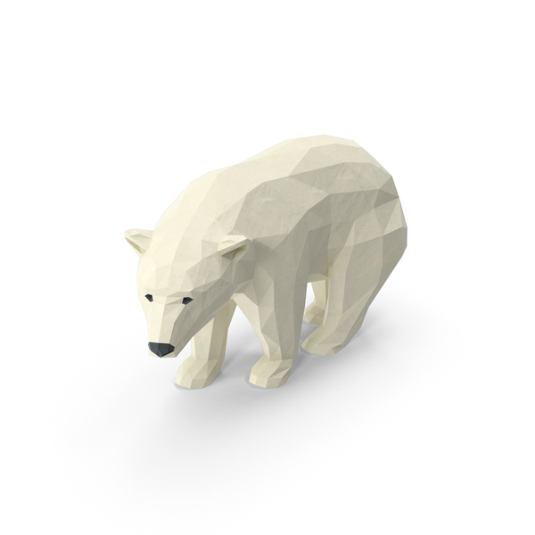 Low Poly Polar Bear Object