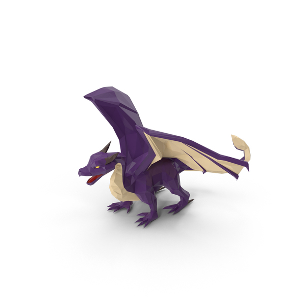 Low Poly Purple Dragon PNG & PSD Images