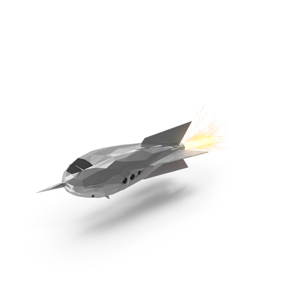Low Poly Rocket Ship Object
