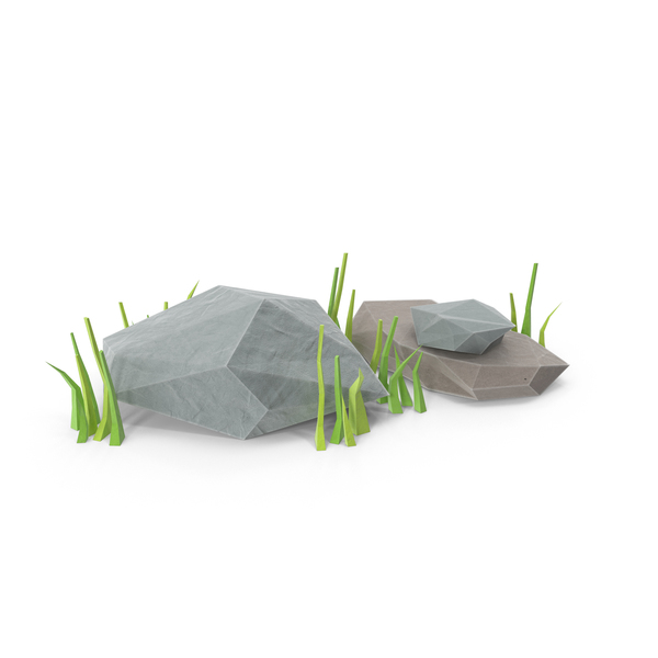 Low Poly Rocks with Grass PNG & PSD Images