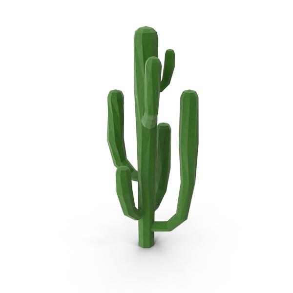 Low Poly Saguaro Cactus PNG & PSD Images