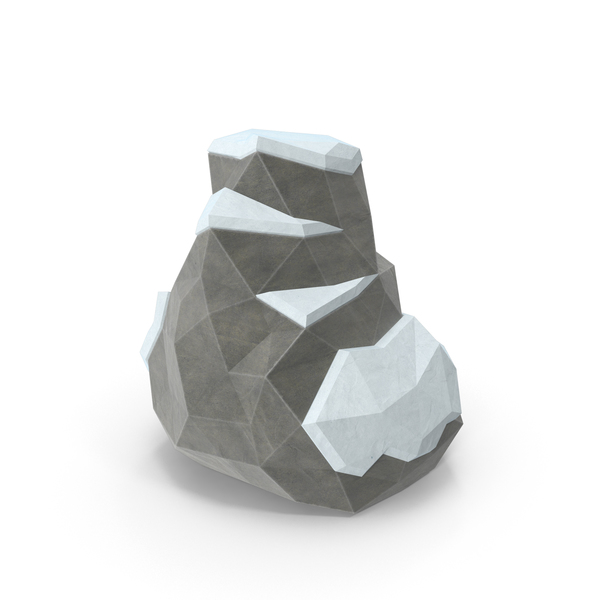 Low Poly Snow Covered Boulder Object