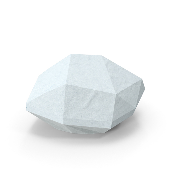 Low Poly Snow Covered Rock Object
