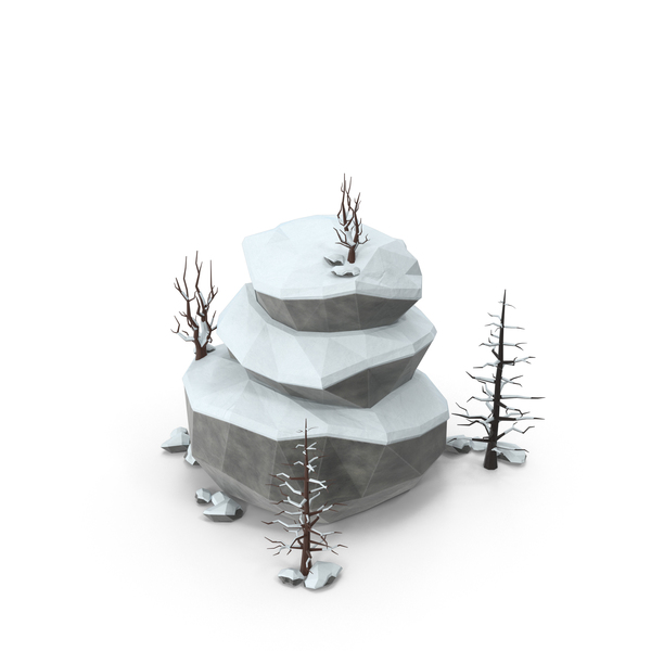 Boulder: Low Poly Snow Scene PNG & PSD Images