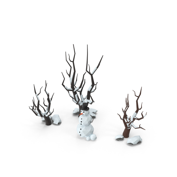Low Poly Snow Scene Snowman Object