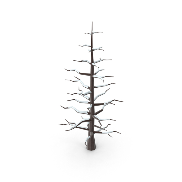 Low Poly Snowy Bare Tree Object