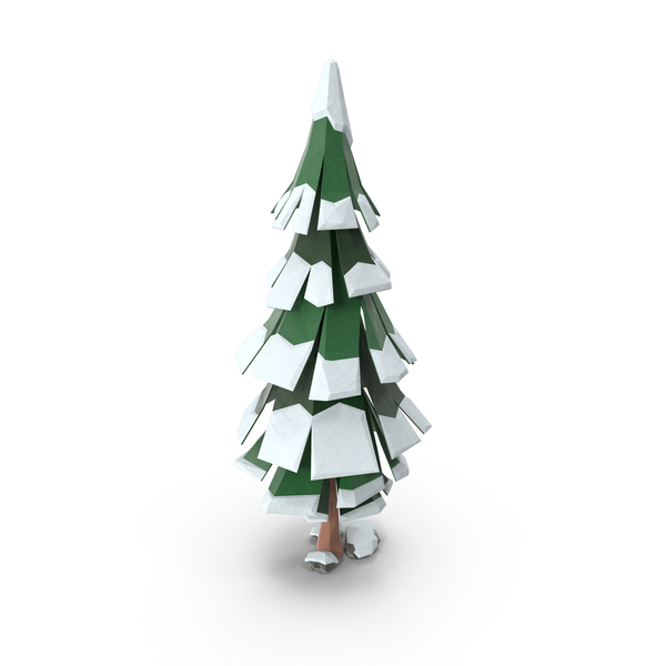 Tree: Low Poly Snowy Pine PNG & PSD Images