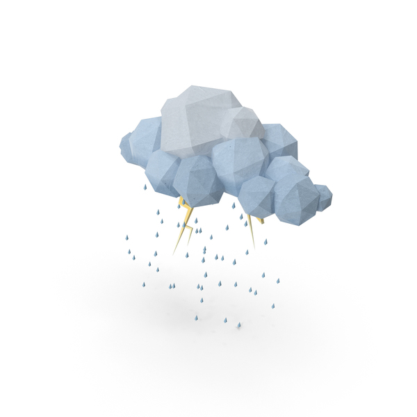 Low Poly Storm Cloud Object