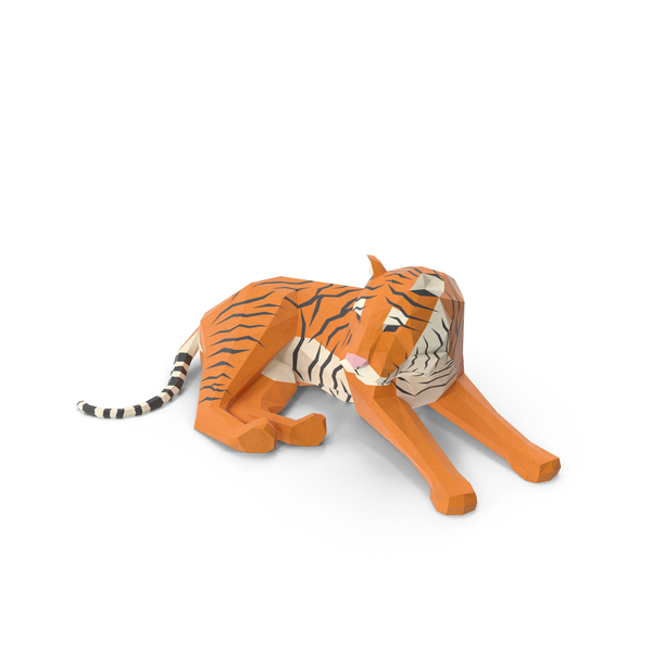 Low Poly Tiger Object