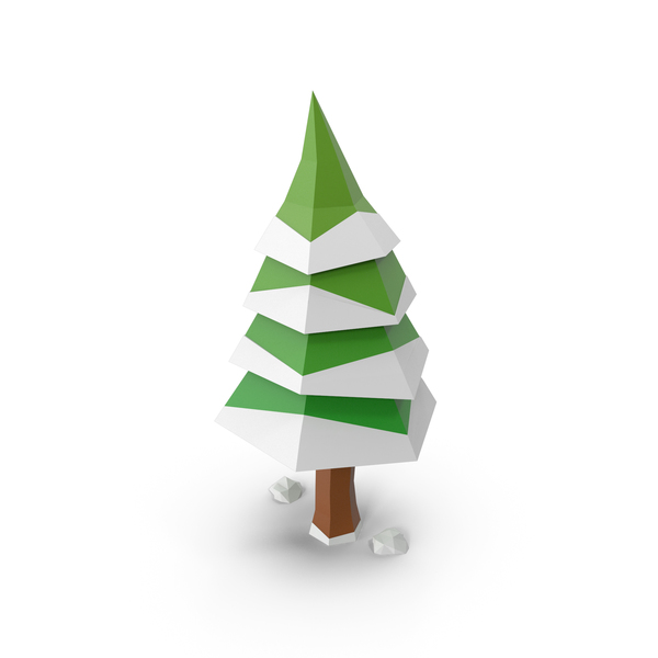 Low Poly Tree Winter PNG & PSD Images