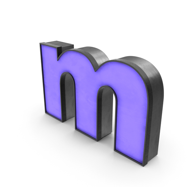 Symbols: Luminous Letter m Blue Lowercase PNG & PSD Images