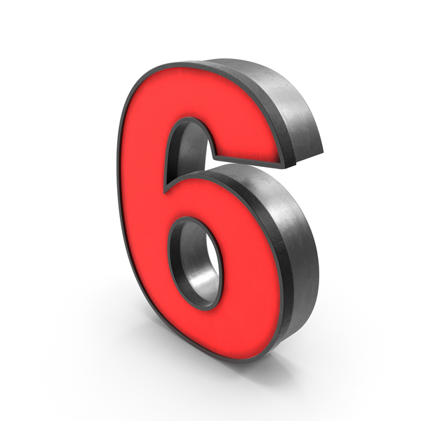 Luminous Number 6 Red PNG & PSD Images