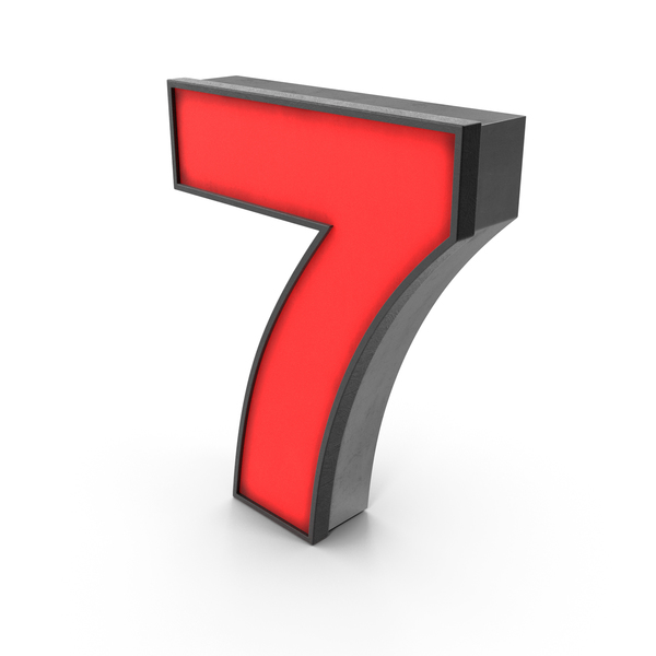 Luminous Number 7 Red PNG & PSD Images