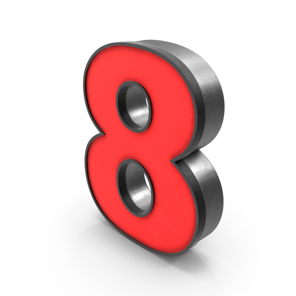 Luminous Number 8 Red PNG & PSD Images