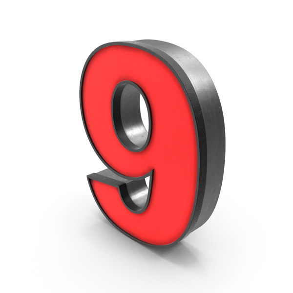 Luminous Number 9 Red PNG & PSD Images