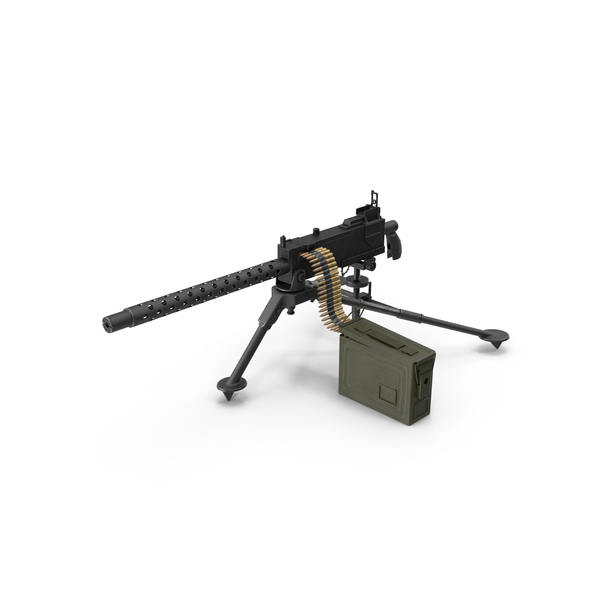 M1919 Browning 30cal Machine Gun Mounted on the Tripod Object