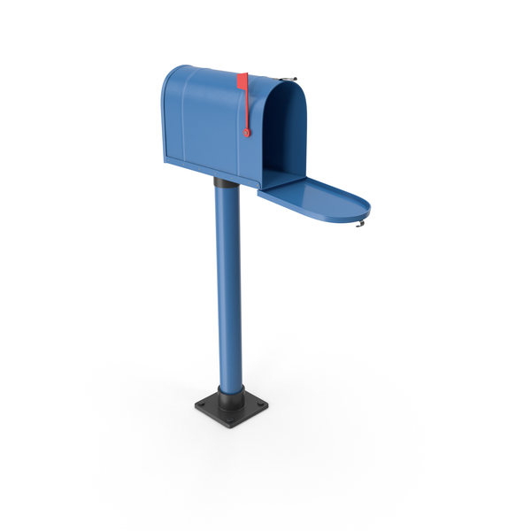 Mailbox On Post Opened Blue PNG & PSD Images