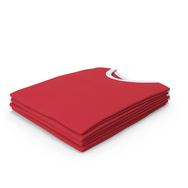 Shirt: Male Crew Neck Folded Stacked White And Red PNG & PSD Images