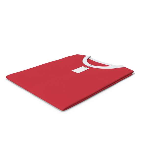 Shirt: Male Crew Neck Folded With Tag White And Red PNG & PSD Images