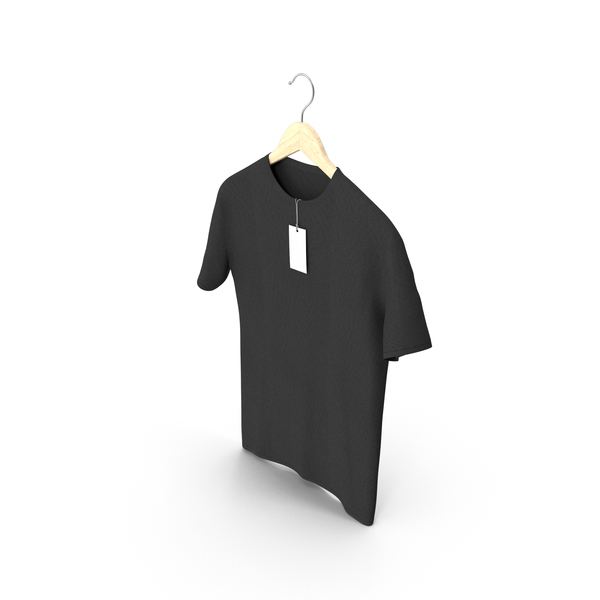Shirt: Male Crew Neck Hanging With Tag Black PNG & PSD Images
