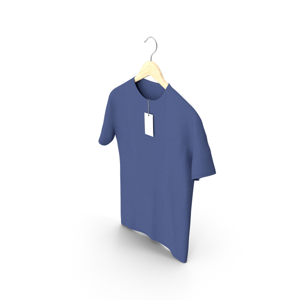 Shirt: Male Crew Neck Hanging With Tag Dark Blue PNG & PSD Images