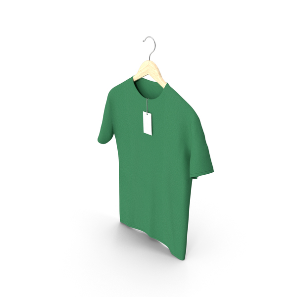 Shirt: Male Crew Neck Hanging With Tag Green PNG & PSD Images