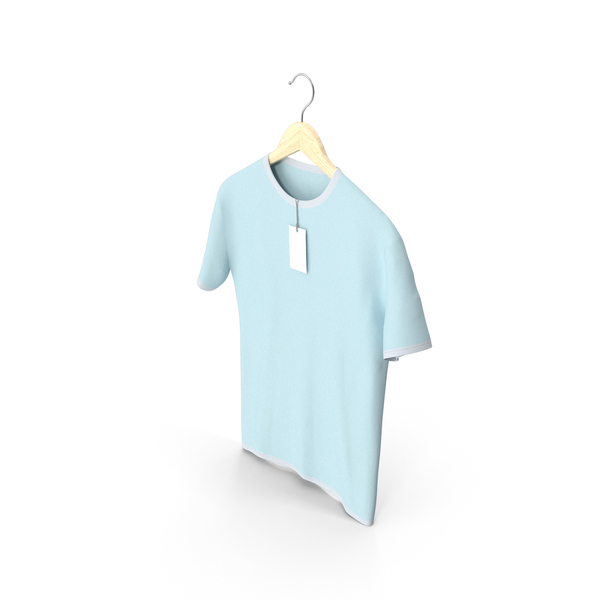 Shirt: Male Crew Neck Hanging With Tag White and Blue PNG & PSD Images