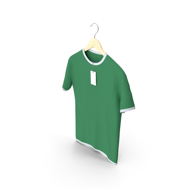 Shirt: Male Crew Neck Hanging With Tag White and Green PNG & PSD Images