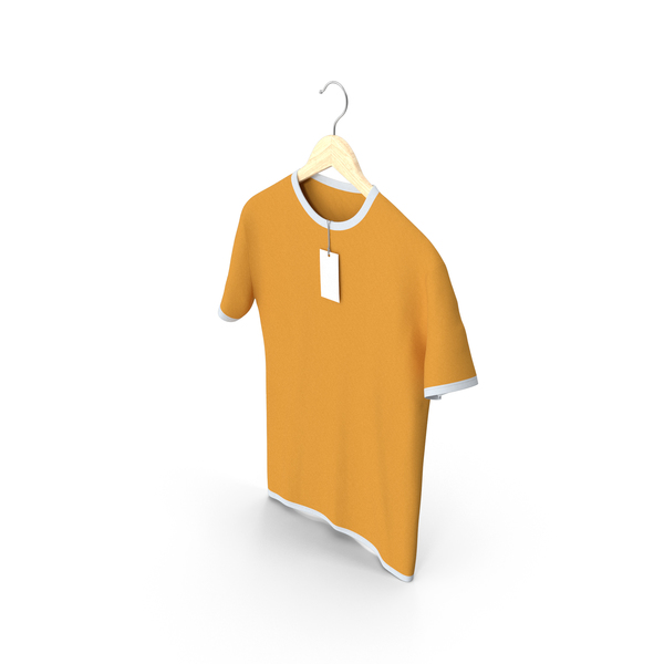 Shirt: Male Crew Neck Hanging With Tag White and Orange PNG & PSD Images