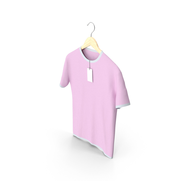 Shirt: Male Crew Neck Hanging With Tag White and Pink PNG & PSD Images
