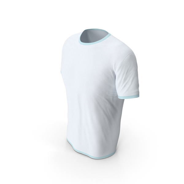 Shirt: Male Crew Neck Worn White and Blue PNG & PSD Images