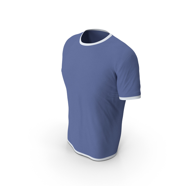 Shirt: Male Crew Neck Worn White and Dark Blue PNG & PSD Images
