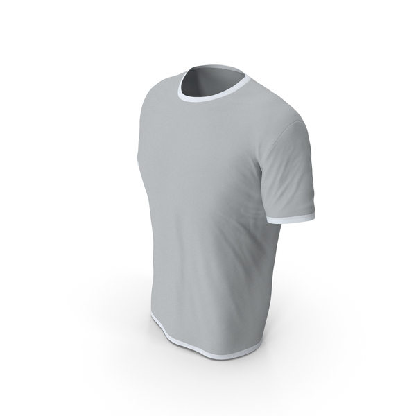 Shirt: Male Crew Neck Worn White and Gray PNG & PSD Images
