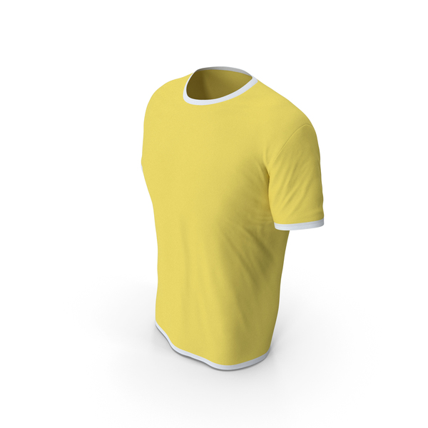 Shirt: Male Crew Neck Worn White and Yellow PNG & PSD Images