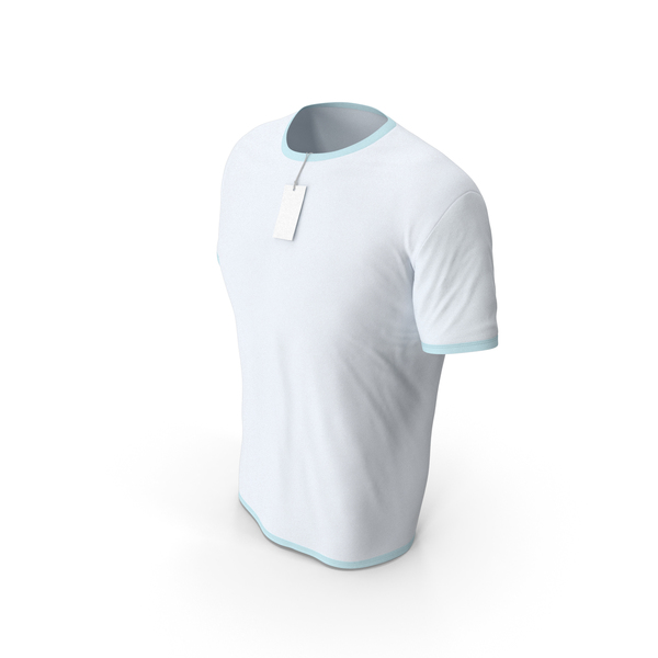 Shirt: Male Crew Neck Worn With Tag White and Blue PNG & PSD Images