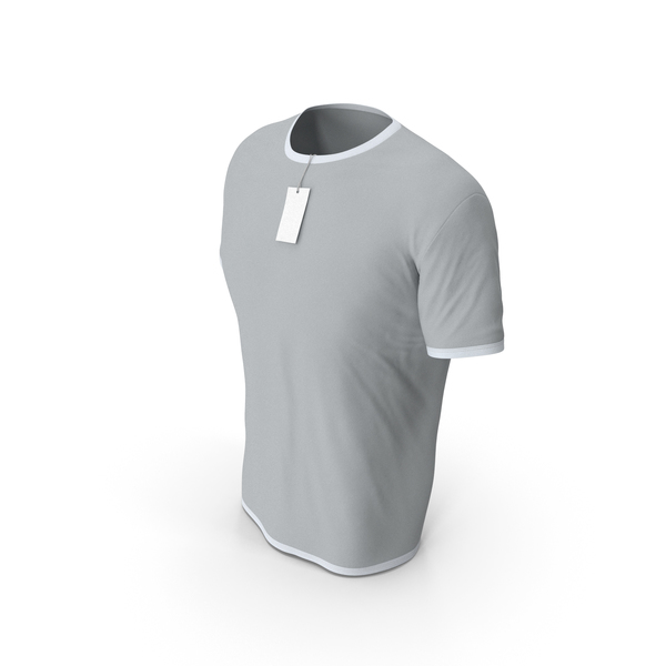 Shirt: Male Crew Neck Worn With Tag White and Gray PNG & PSD Images