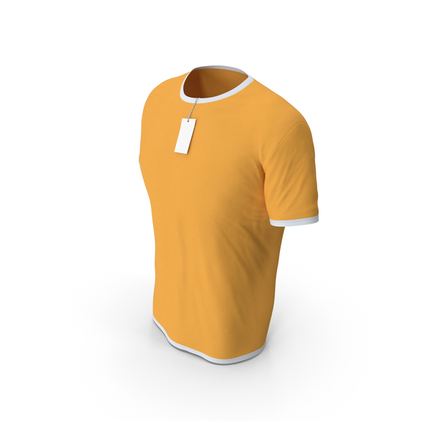 Shirt: Male Crew Neck Worn With Tag White and Orange PNG & PSD Images