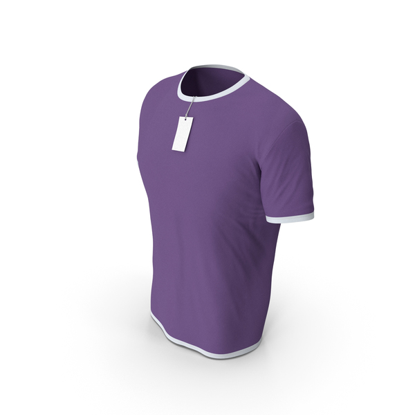 Shirt: Male Crew Neck Worn With Tag White and Purple PNG & PSD Images