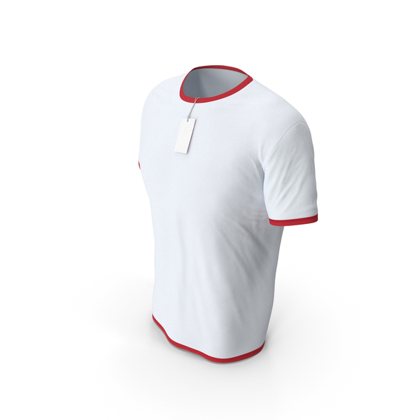 Shirt: Male Crew Neck Worn With Tag White and Red PNG & PSD Images