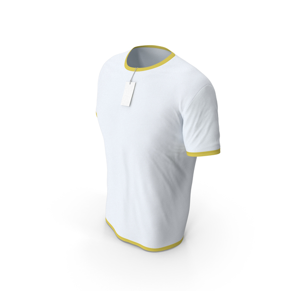 Shirt: Male Crew Neck Worn With Tag White and Yellow PNG & PSD Images