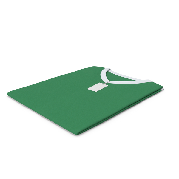 Shirt: Male V Neck Folded With Tag White and Green PNG & PSD Images