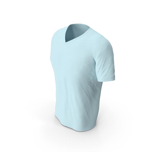 T Shirt: Male V Neck Worn Blue PNG & PSD Images