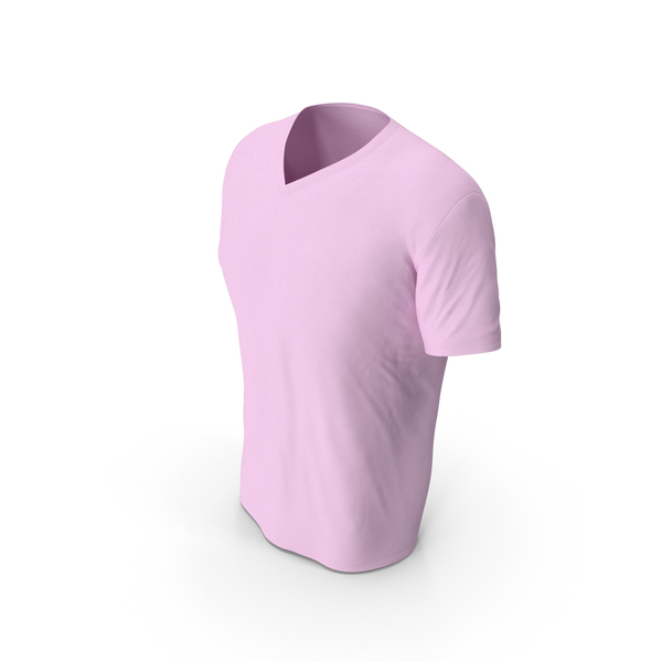 T Shirt: Male V Neck Worn Pink PNG & PSD Images