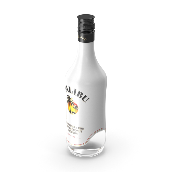 Malibu Caribbean Coconut Rum 750ml Bottle PNG & PSD Images